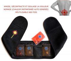 Ceinture lombaire chauffante nomade TRANQUILISAFE® -  4 poches chauffantes réutilisables offertes