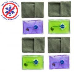 Lot de 4 chaufferettes de Poche - Réutilisables et Pratiques - Housse en microfibre offerte