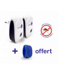 Lot de 2 répulsifs ultrason TRANQUILISAFE anti moustiques et moustiques tigres + un bracelet aux huiles essentielles OFFERT